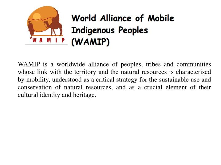 WAMIP is a worldwide alliance of peoples, tribes and communities whose link with the territory and the natural resources is characterised by mobility, understood as a critical strategy for the sustainable use and conservation of natural resources, and as a crucial element of their cultural identity and heritage.