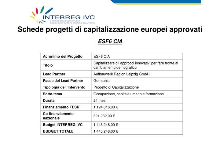 Schede progetti di capitalizzazione europei approvati