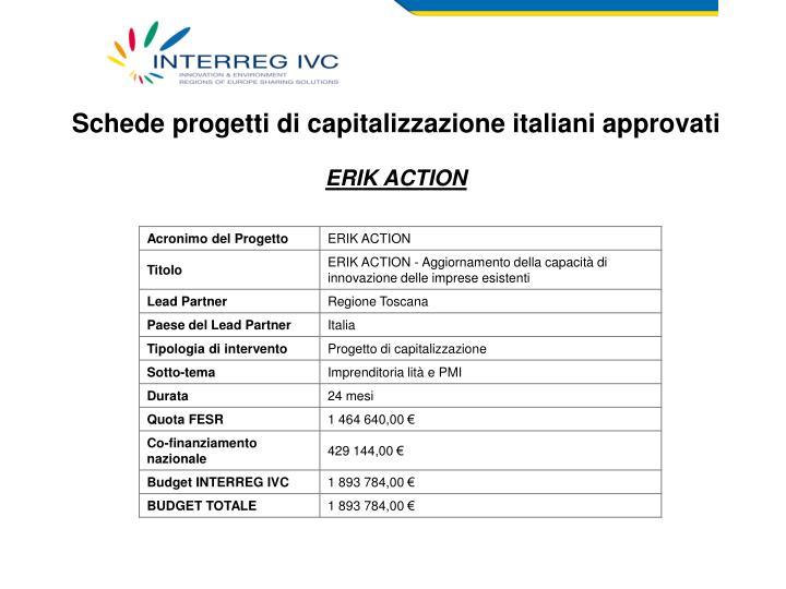Schede progetti di capitalizzazione italiani approvati