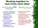 working together to learn from each other