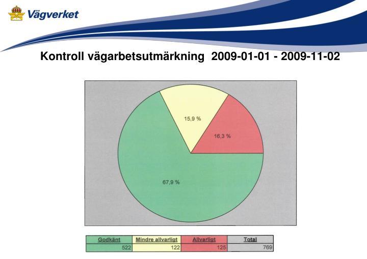 Kontroll vägarbetsutmärkning  2009-01-01 - 2009-11-02
