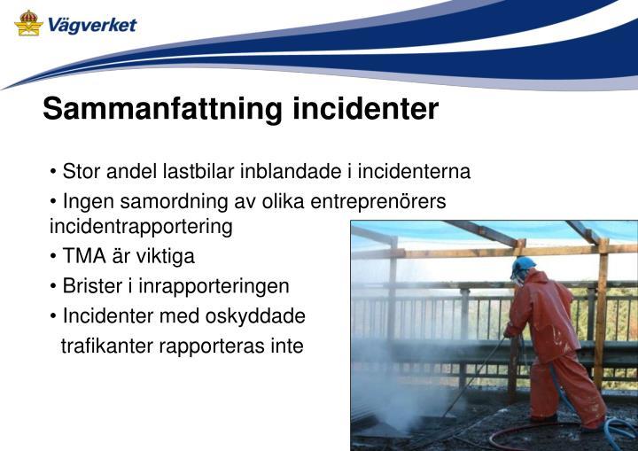 Sammanfattning incidenter