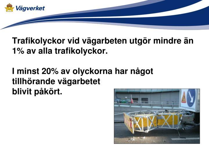 Trafikolyckor vid vägarbeten utgör mindre än 1% av alla trafikolyckor.