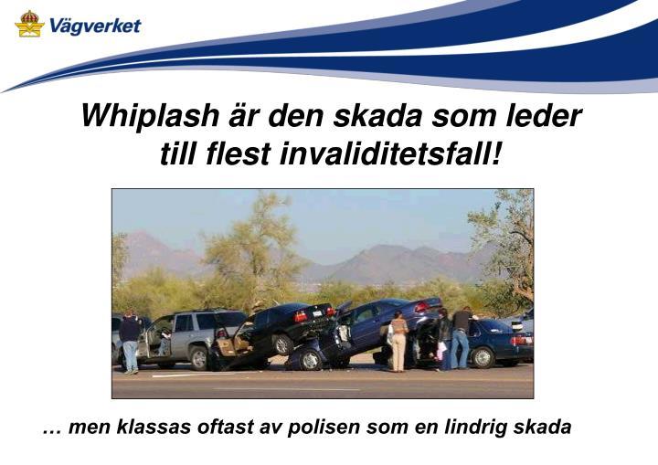 Whiplash är den skada som leder till flest invaliditetsfall!