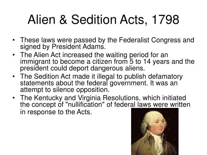"alien and sedition act 4 ""we humbly conceive the spirit of american liberty breathes a different air, from this law"" petition from aliens residing in lancaster county, pennsylvania, january 4, 1802."