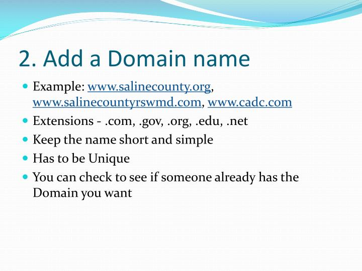 2. Add a Domain name