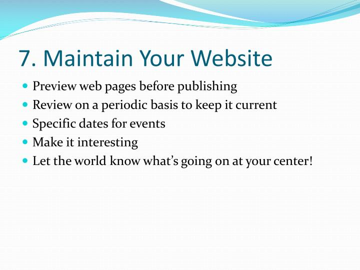 7. Maintain Your Website