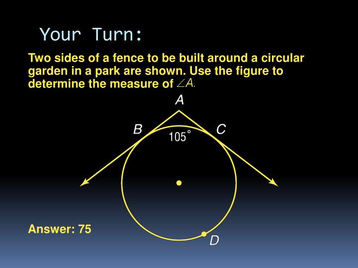 Two sides of a fence to be built around a circular garden in a park are shown. Use the figure to determine the measure of