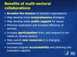 benefits of multi sectoral collaborations