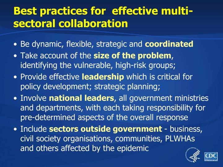 Best practices for  effective multi-sectoral collaboration