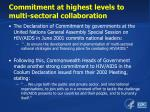 commitment at highest levels to multi sectoral collaboration
