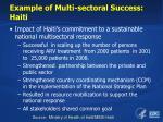 example of multi sectoral success haiti