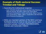 example of multi sectoral success trinidad and tobago