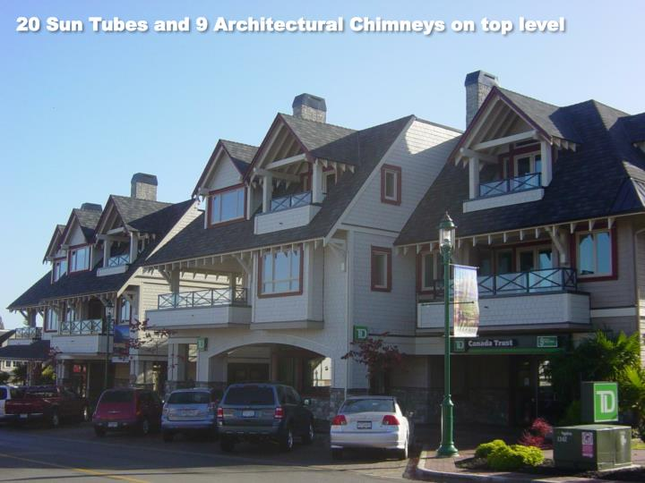 20 Sun Tubes and 9 Architectural Chimneys on top level