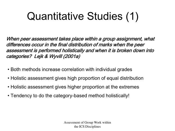 Quantitative Studies (1)