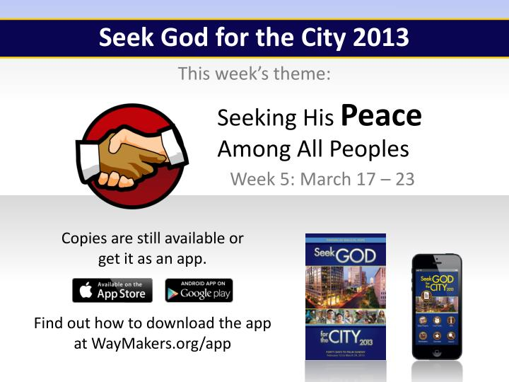 Seek God for the City 2013