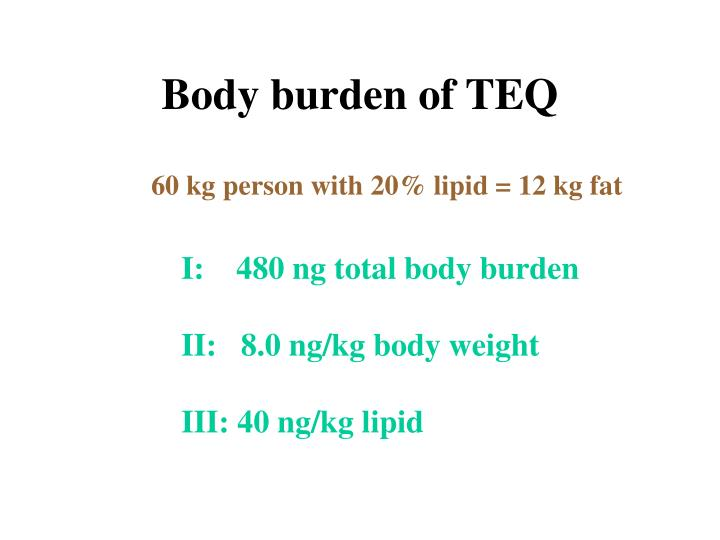 Body burden of