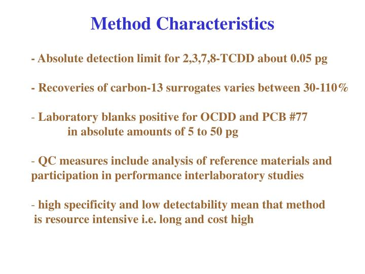 Method Characteristics