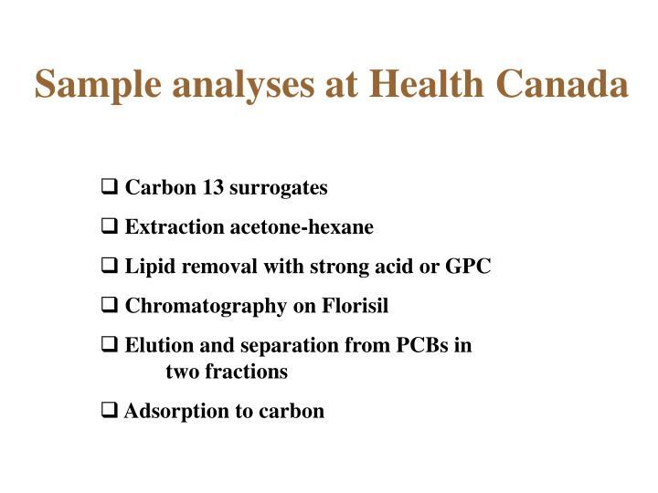 Sample analyses at Health Canada