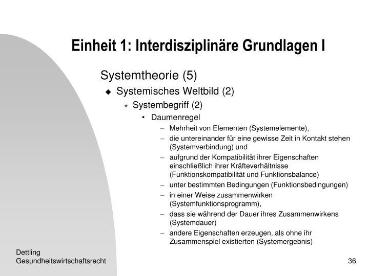 Einheit 1: Interdisziplinäre Grundlagen I