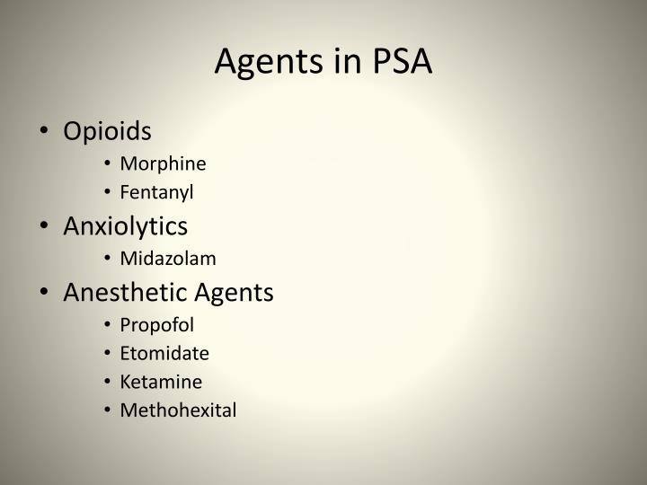 Agents in PSA