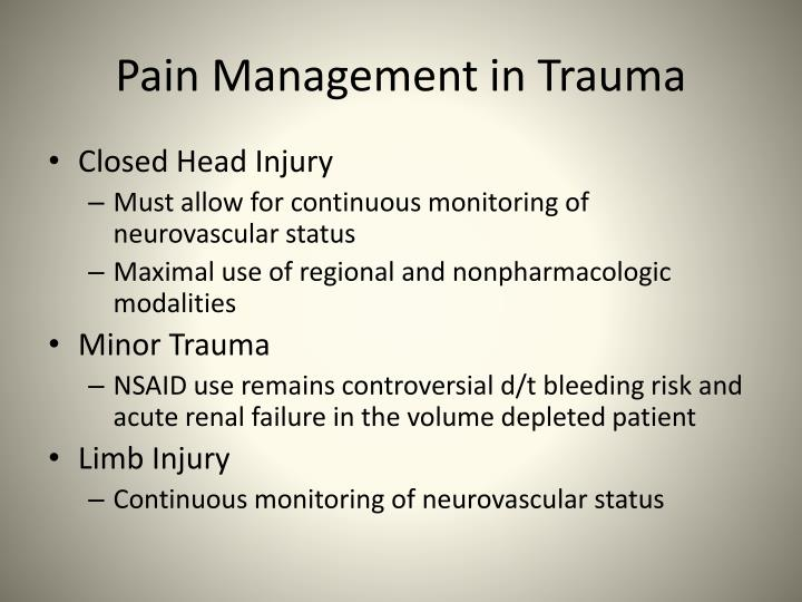 Pain Management in Trauma