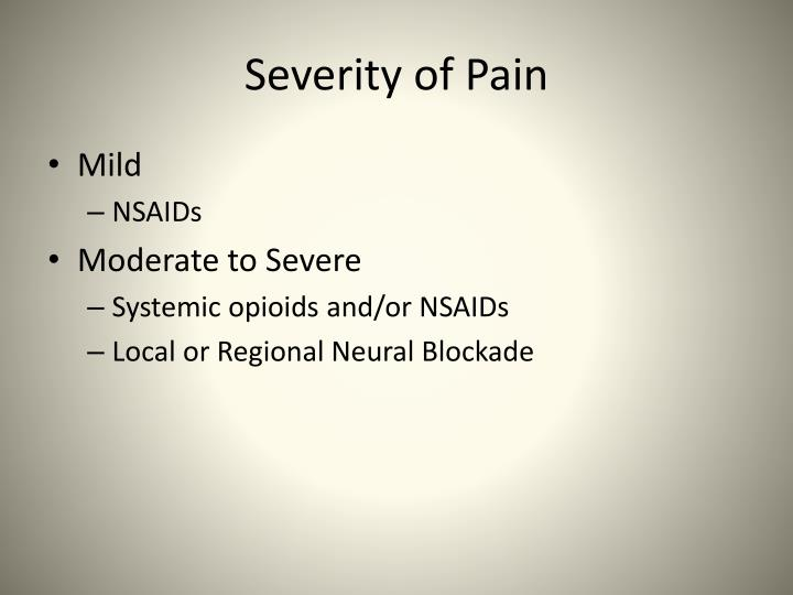 Severity of Pain