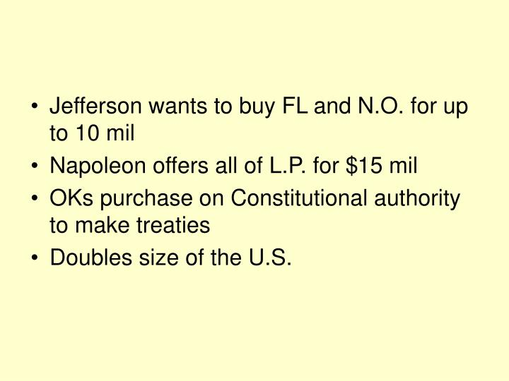 Jefferson wants to buy FL and N.O. for up to 10 mil