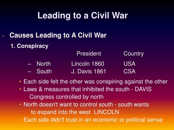 Leading to a Civil War