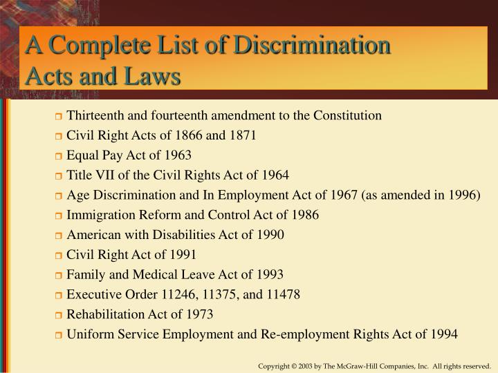 A Complete List of Discrimination