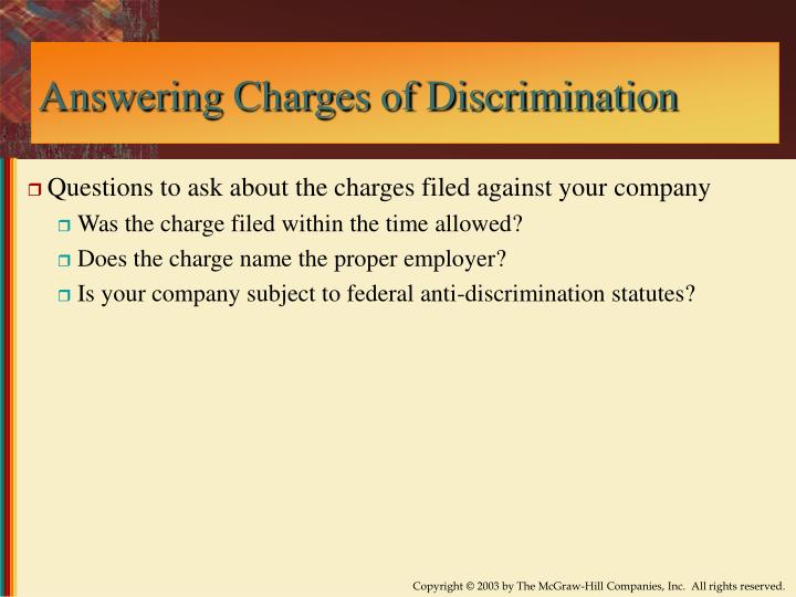 Answering Charges of Discrimination
