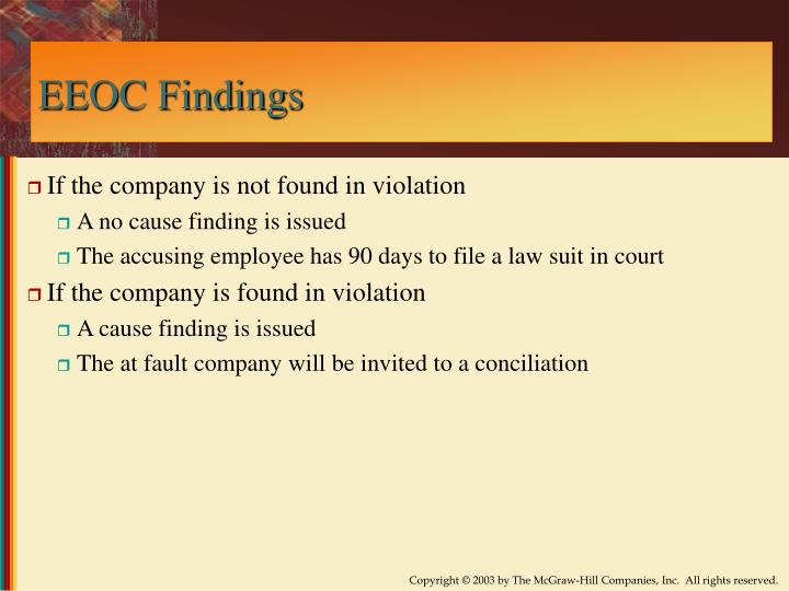 EEOC Findings