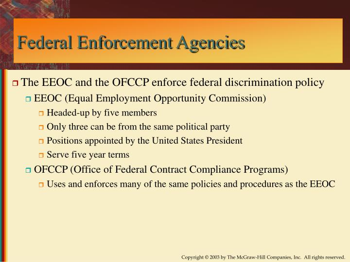 Federal Enforcement Agencies