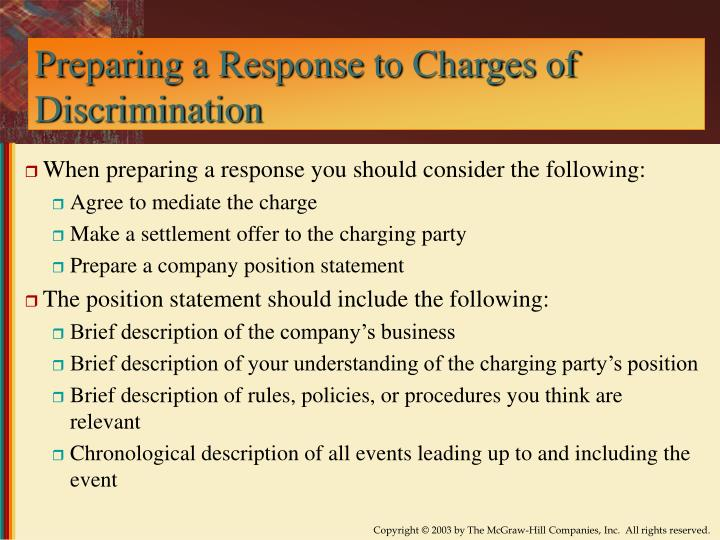 Preparing a Response to Charges of Discrimination