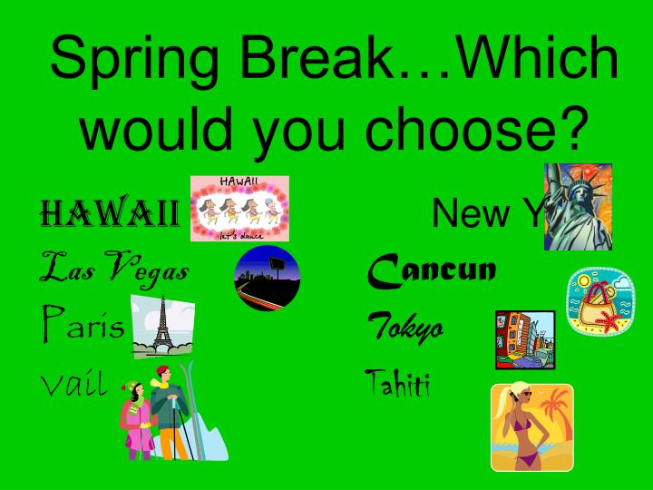 Spring Break…Which would you choose?