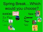 spring break which would you choose