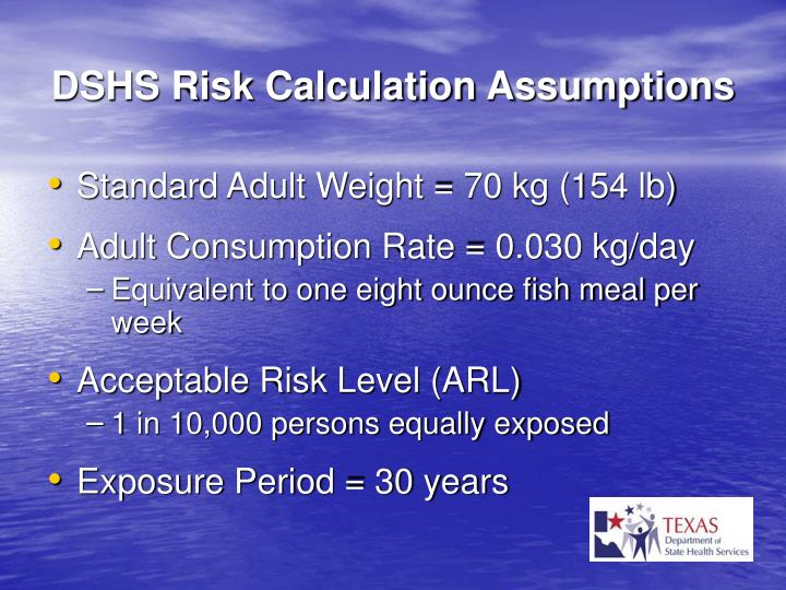 DSHS Risk Calculation Assumptions
