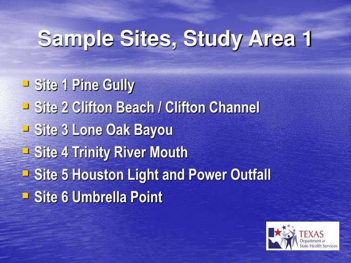 Sample Sites, Study Area 1