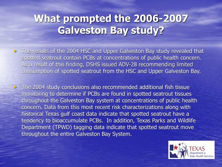 What prompted the 2006 2007 galveston bay study