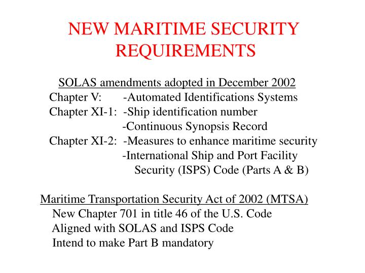 NEW MARITIME SECURITY