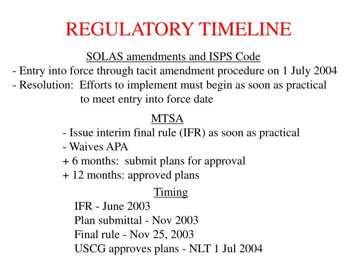 REGULATORY TIMELINE
