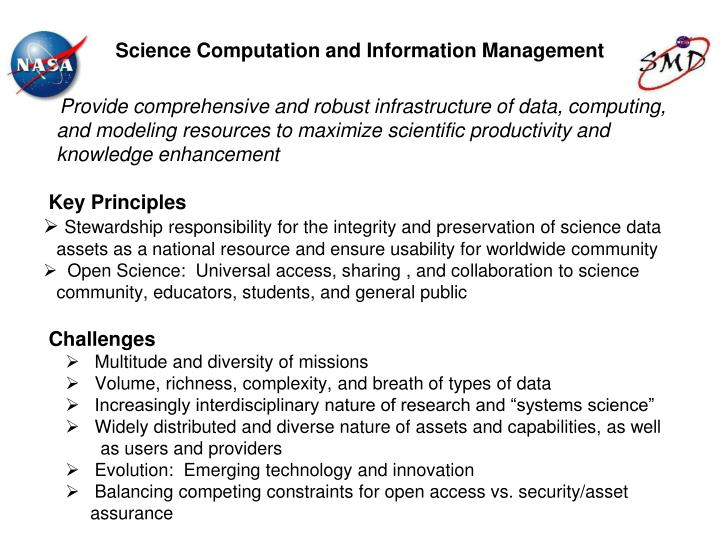 Science Computation and Information Management