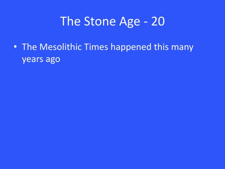 The Stone Age - 20
