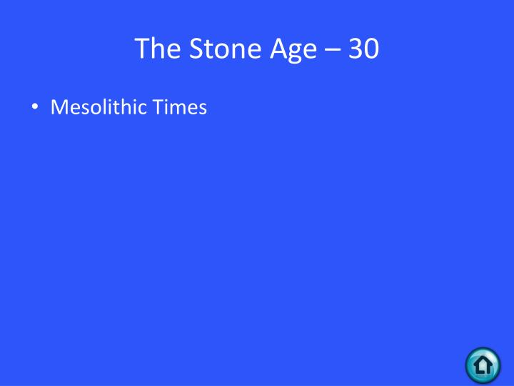 The Stone Age – 30