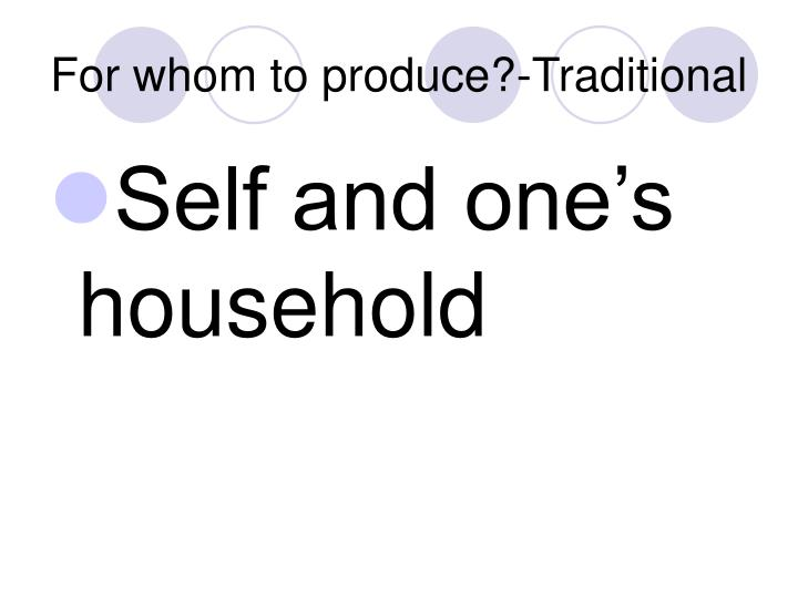 For whom to produce?-Traditional