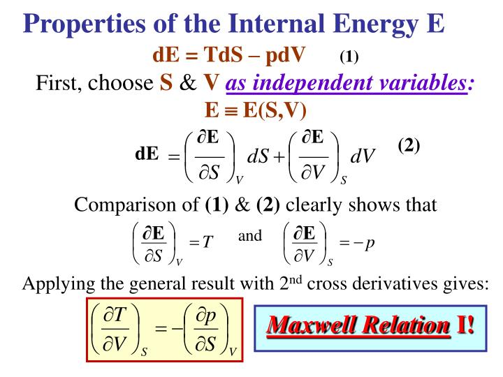 Properties of the Internal Energy E