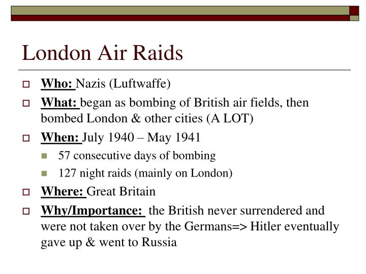 London Air Raids
