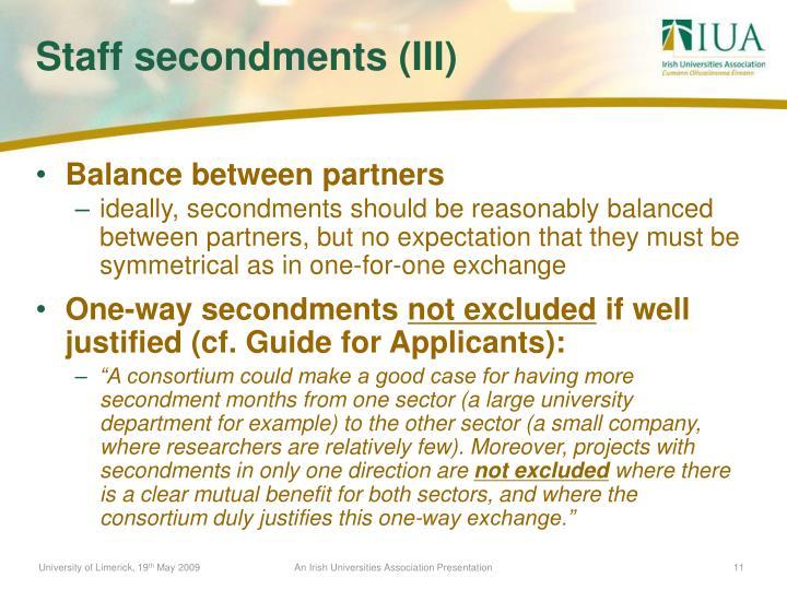 Balance between partners