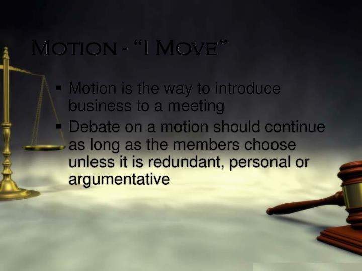 "Motion - ""I Move"""