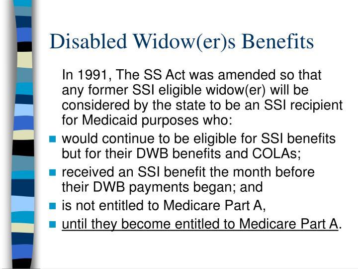 Disabled Widow(er)s Benefits